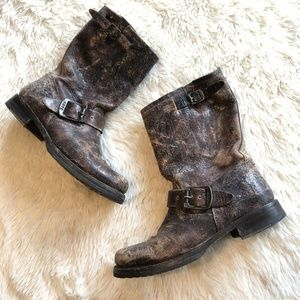 FRYE Veronica THRASHED DISTRESSED Moto Boots 6.5